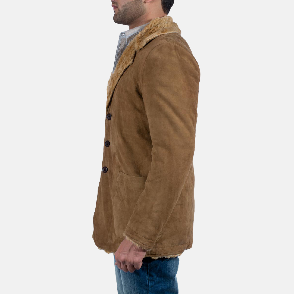 Mens Furlong Beige Leather Coat 4