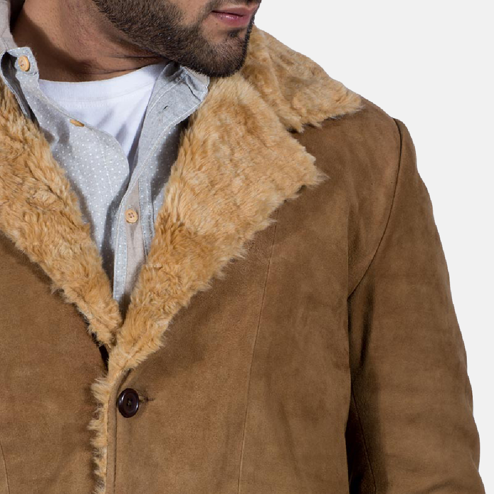 Mens Furlong Beige Leather Coat 6