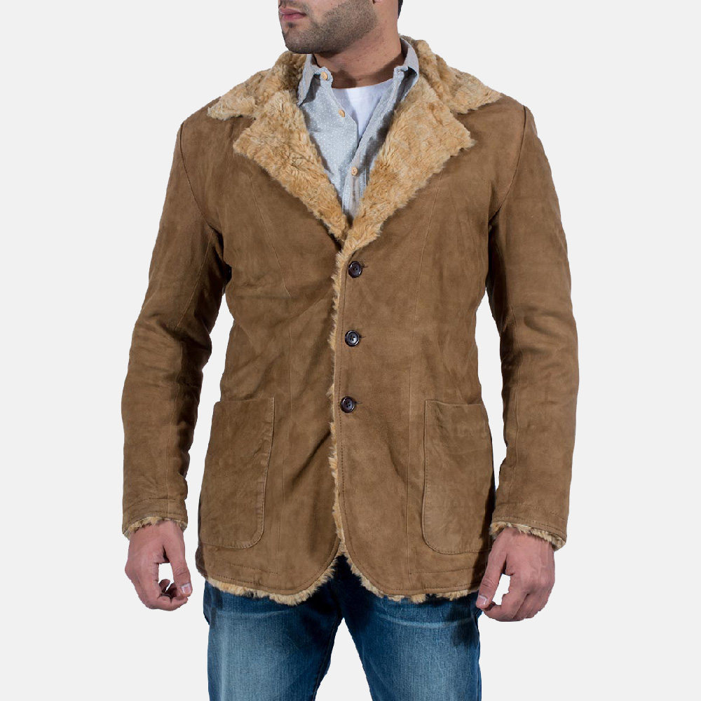 Mens Furlong Beige Leather Coat 1