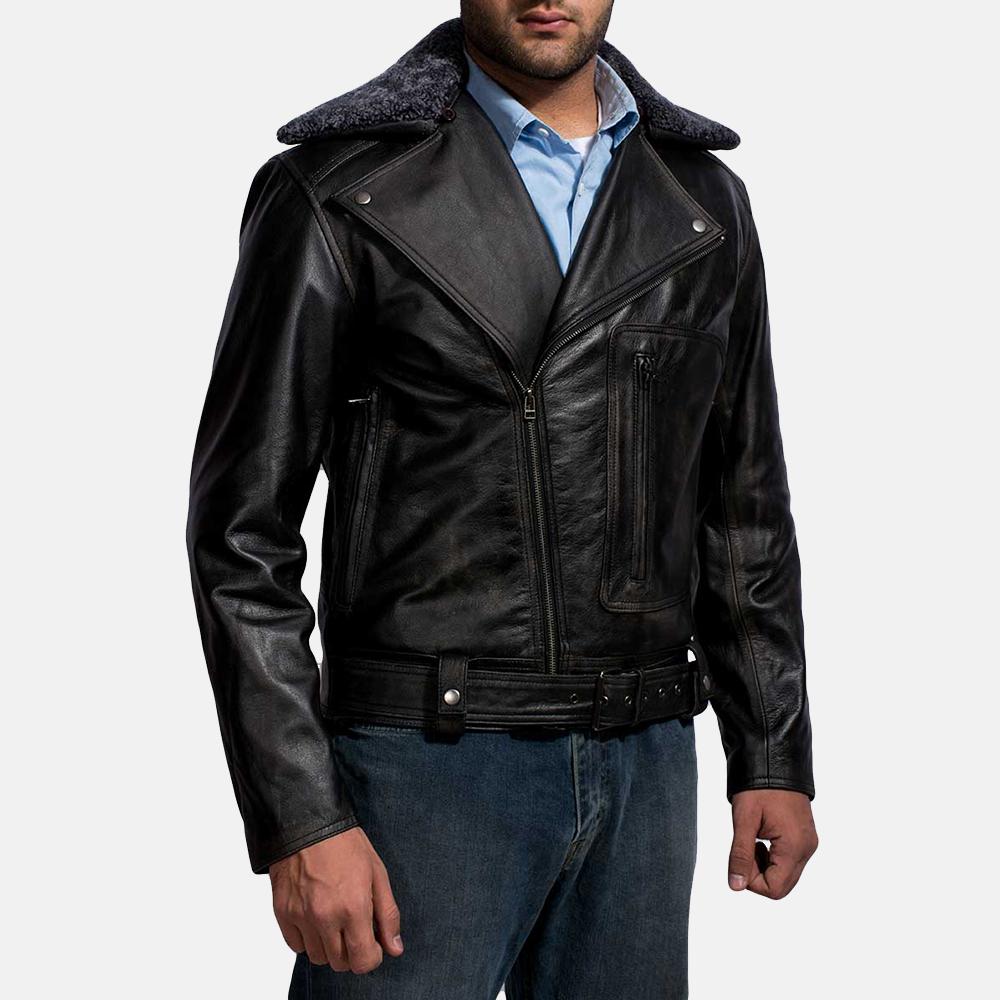 Mens Furton Black Fur Biker Jacket 2