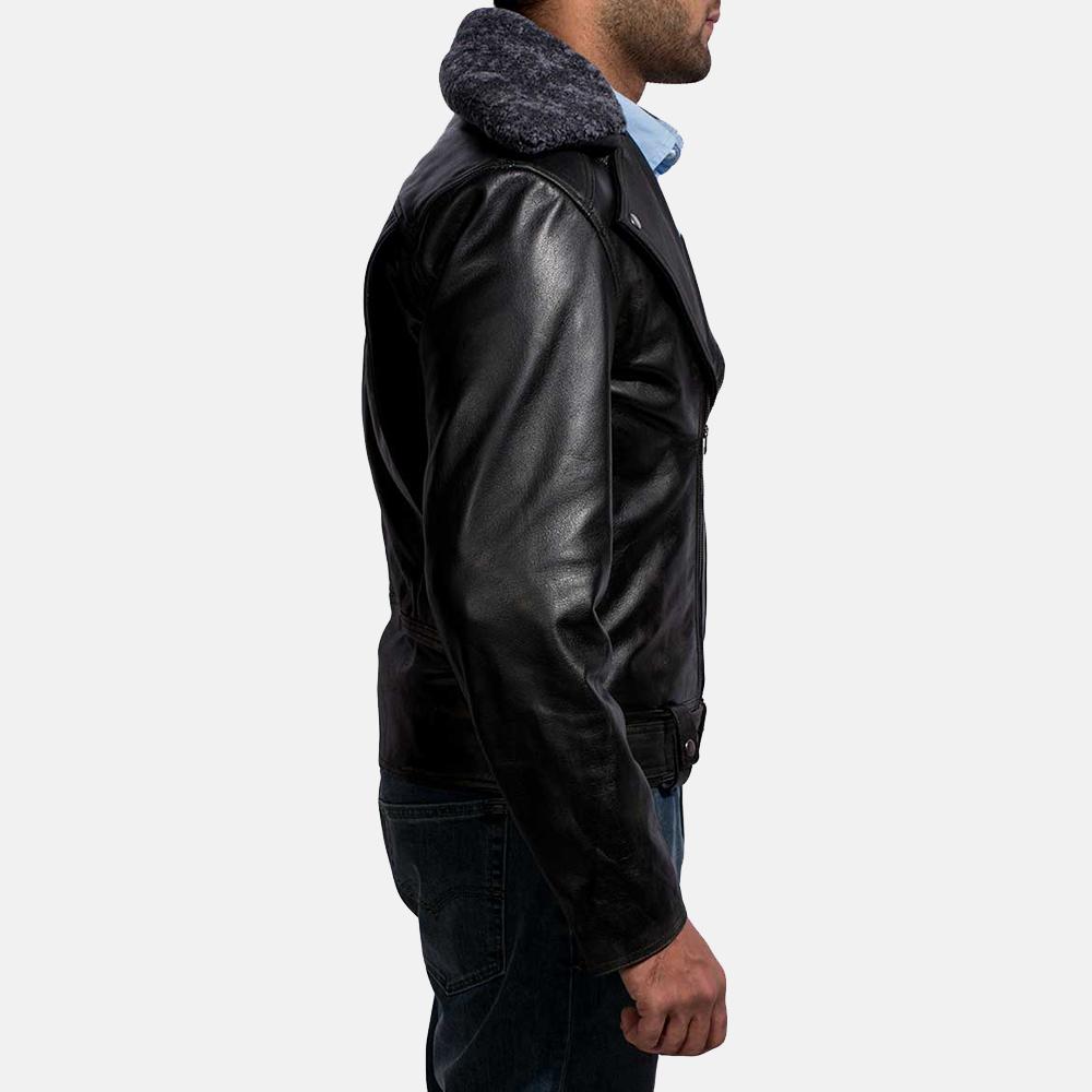 Mens Furton Black Fur Biker Jacket 5