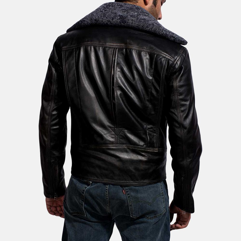 Mens Furton Black Fur Biker Jacket 6