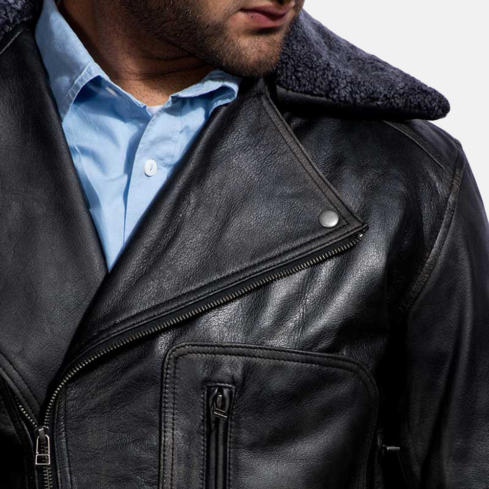 Mens Furton Black Fur Biker Jacket 4
