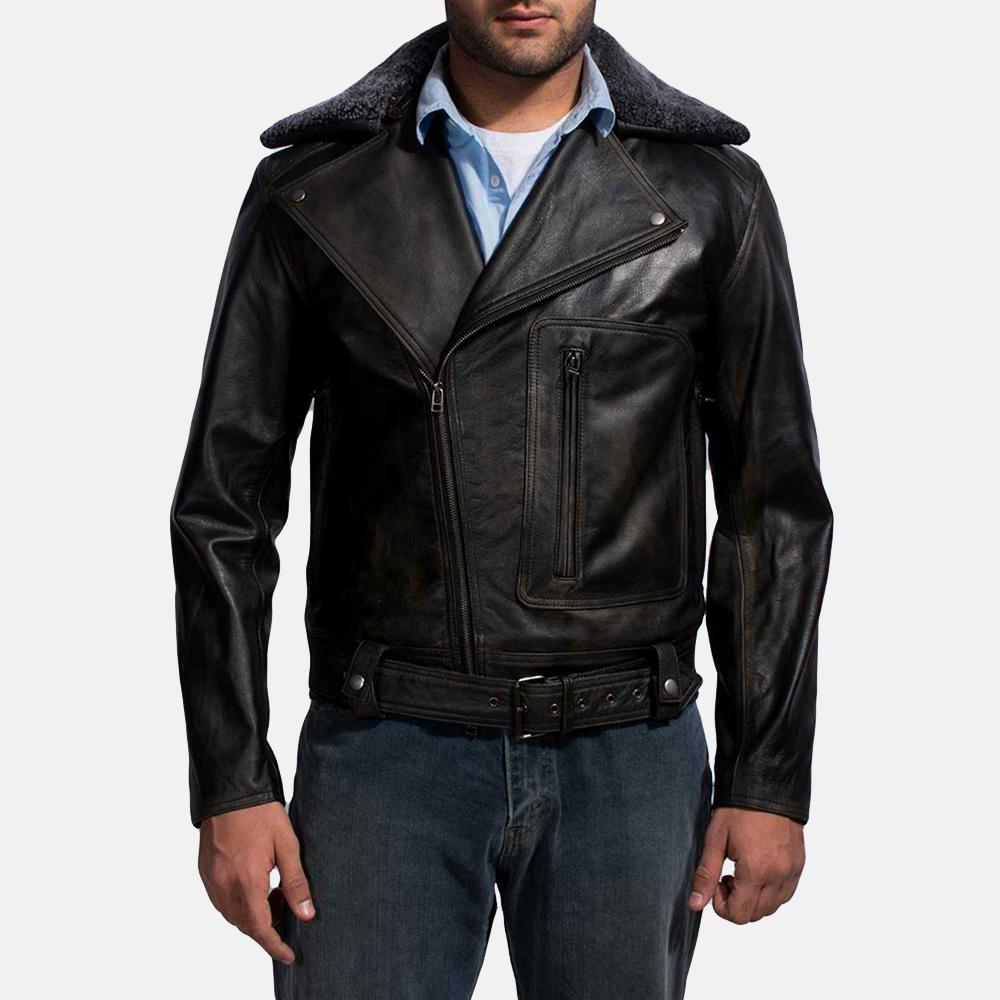 Mens Furton Black Fur Biker Jacket 1