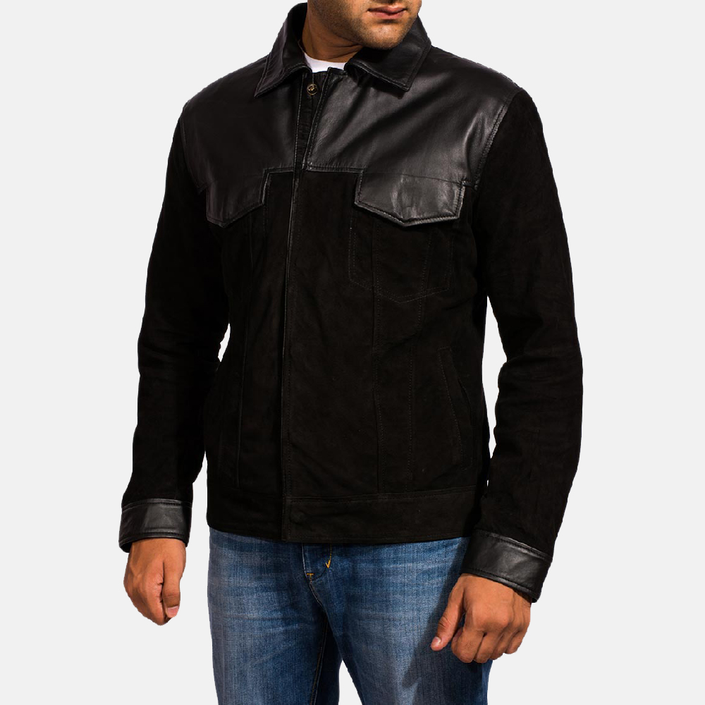 Mens Fusion Black Suede Leather Jacket 3