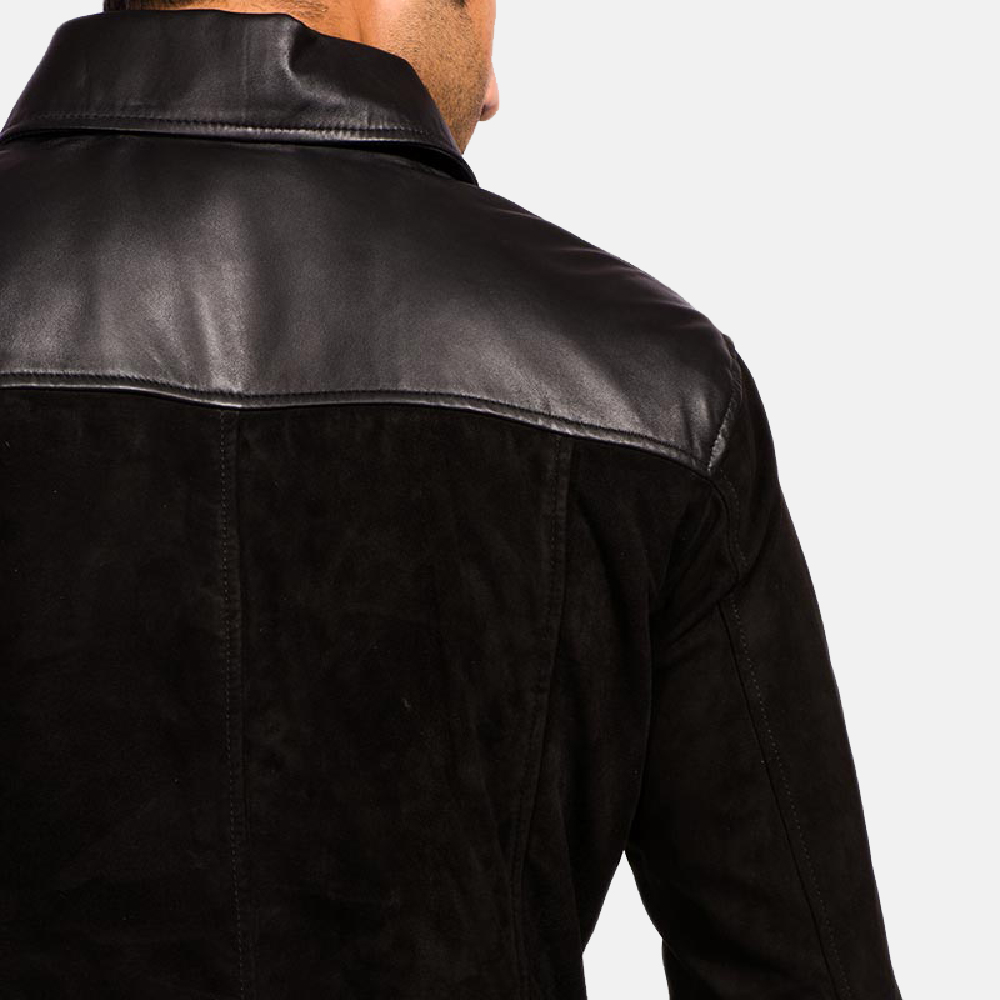 Mens Fusion Black Suede Leather Jacket 4