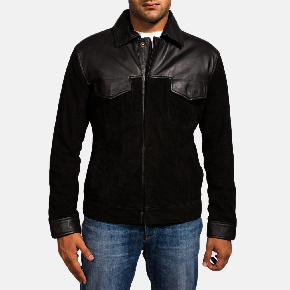Mens Fusion Black Suede Leather Jacket 1