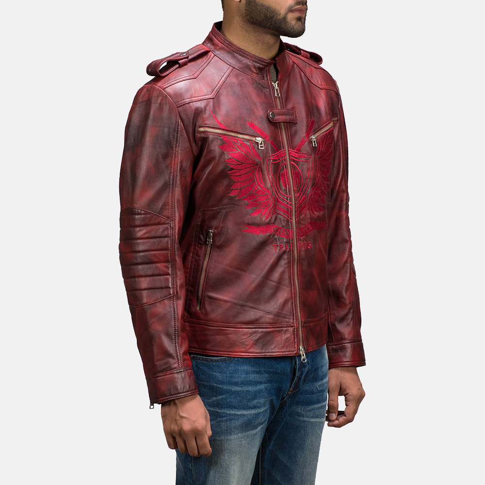 Mens GFX Elite Red Leather Jacket 3