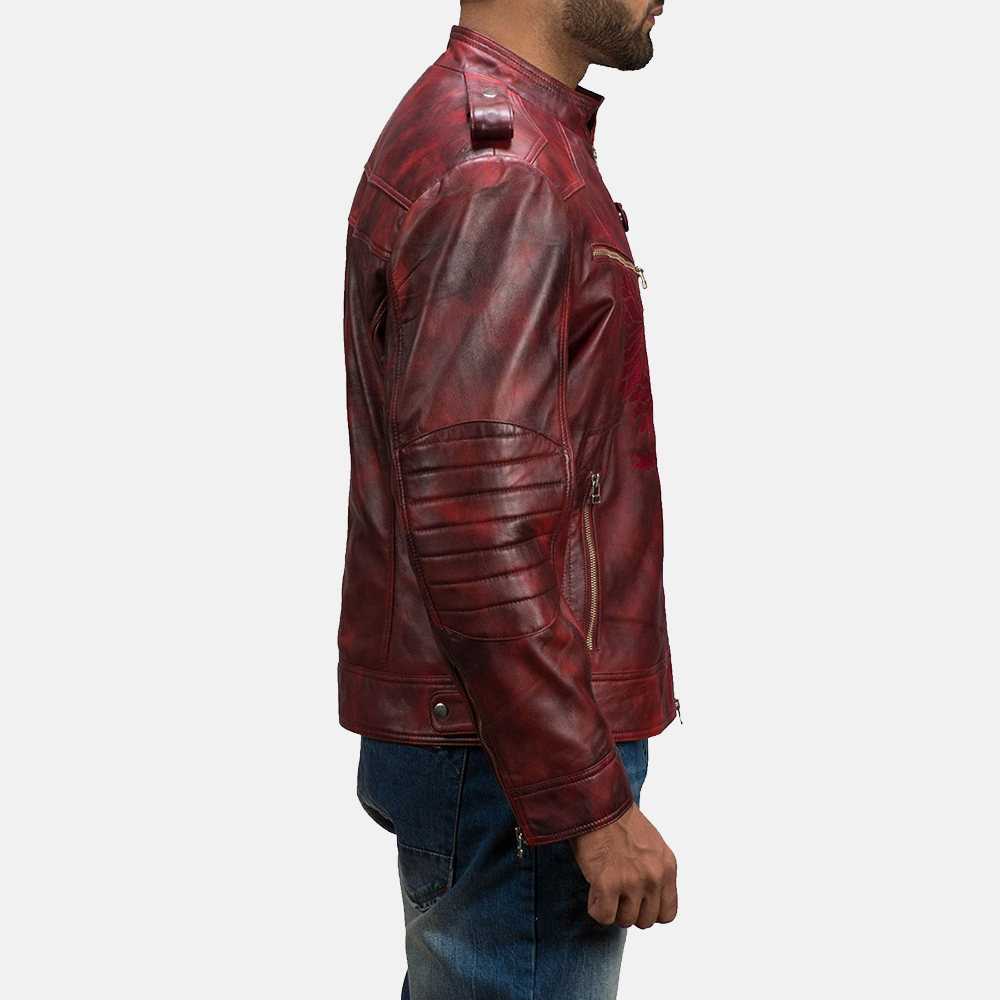 Mens GFX Elite Red Leather Jacket 5