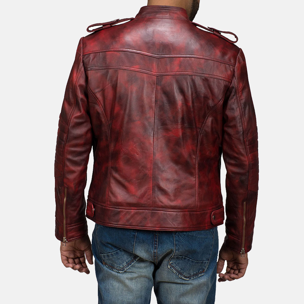 Mens GFX Elite Red Leather Jacket 6