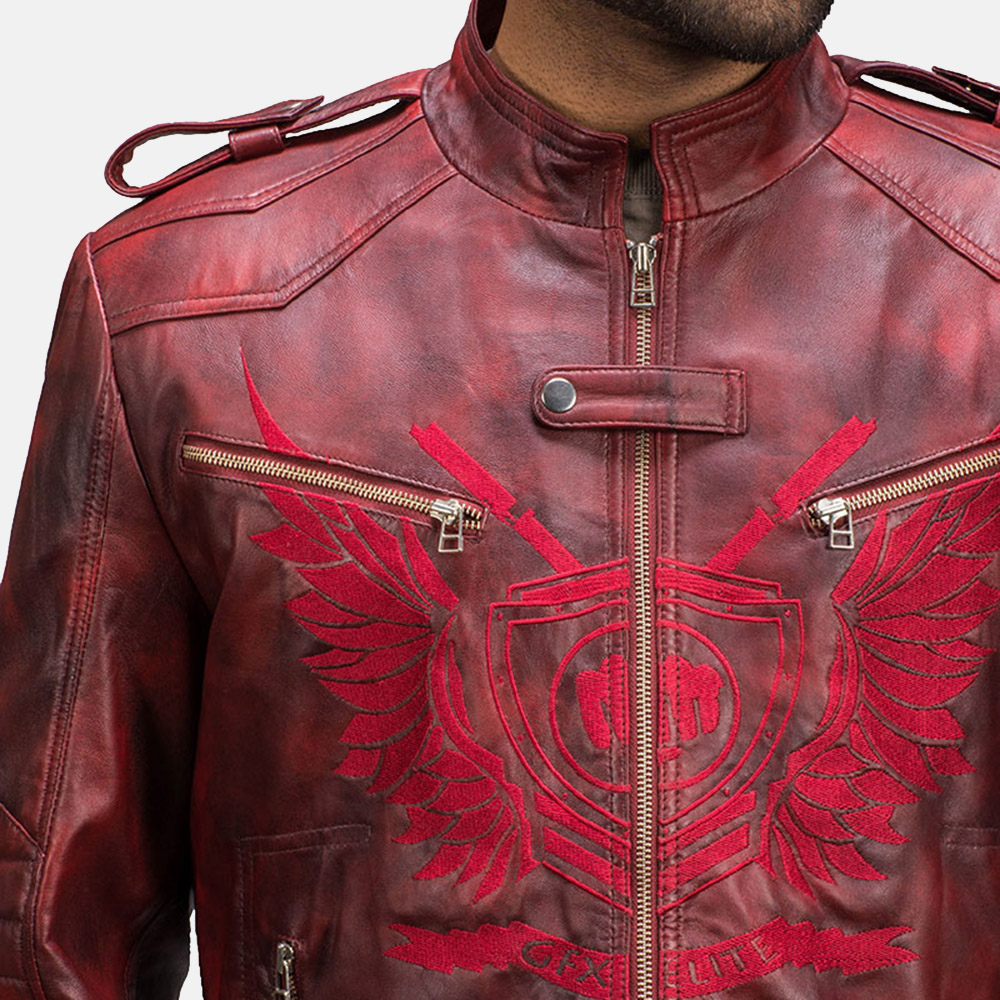 Mens GFX Elite Red Leather Jacket 4