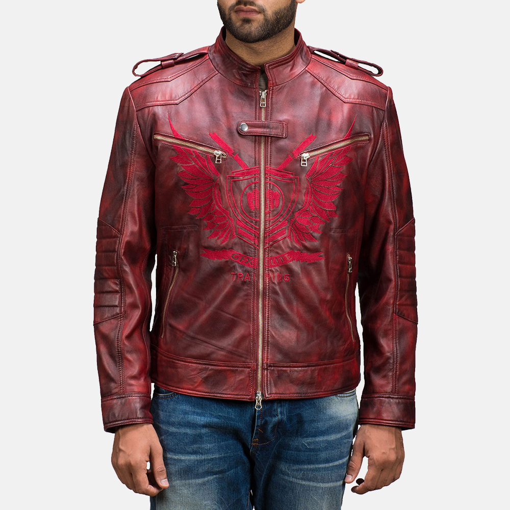 Mens GFX Elite Red Leather Jacket 2