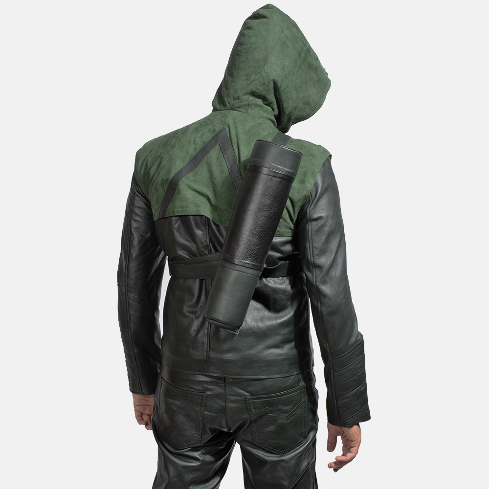 Mens Green Hooded Leather Costume 5