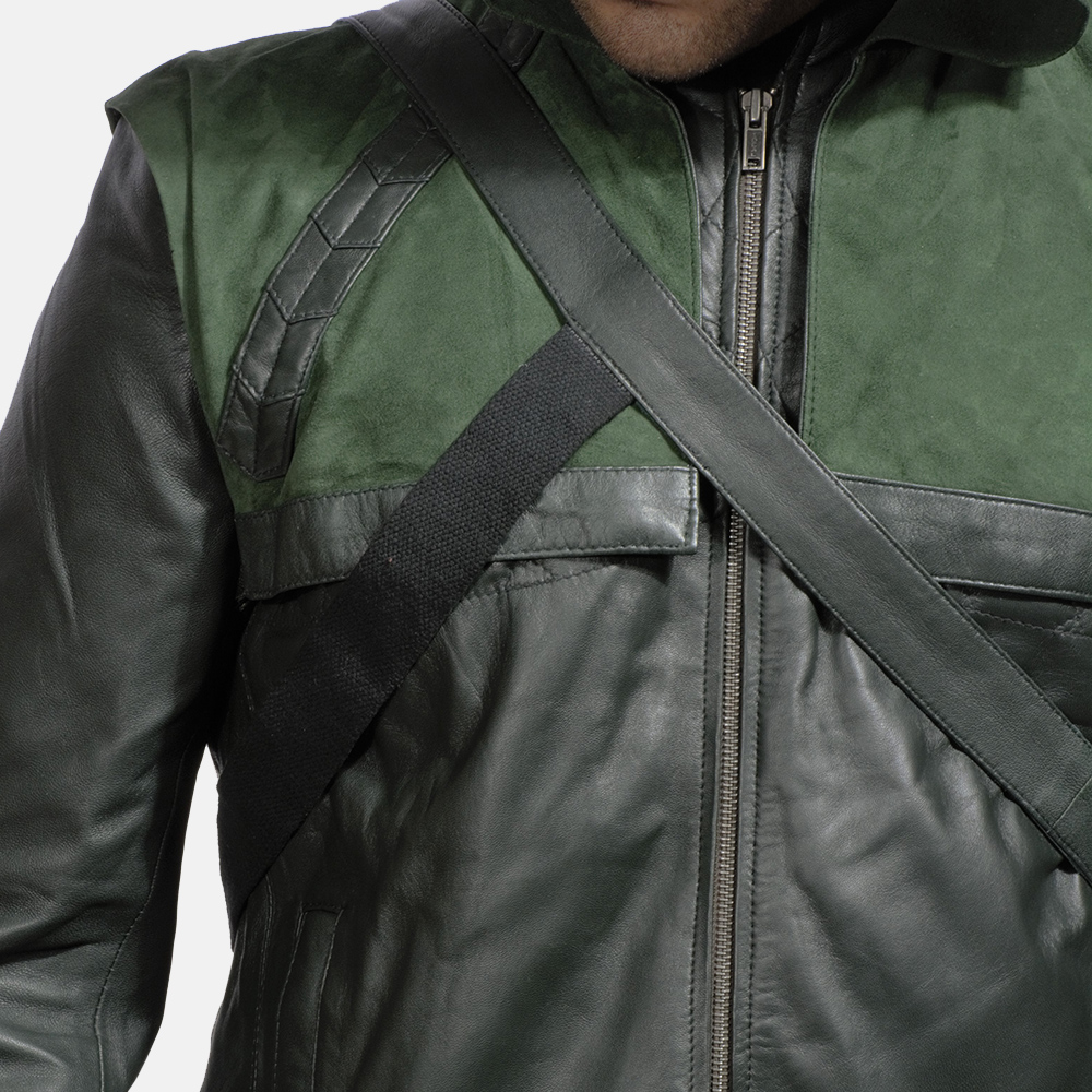 Mens Green Hooded Leather Costume 6