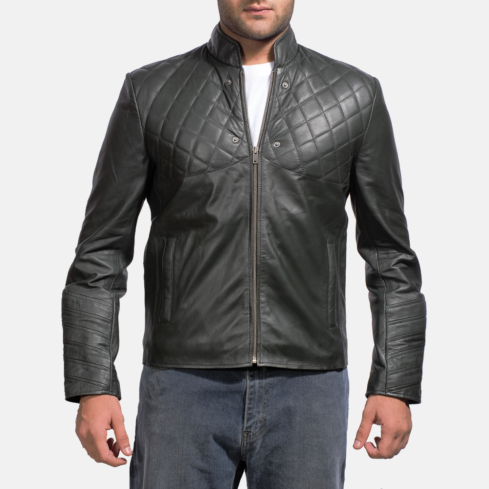 Mens Green Hooded Leather Jacket 5