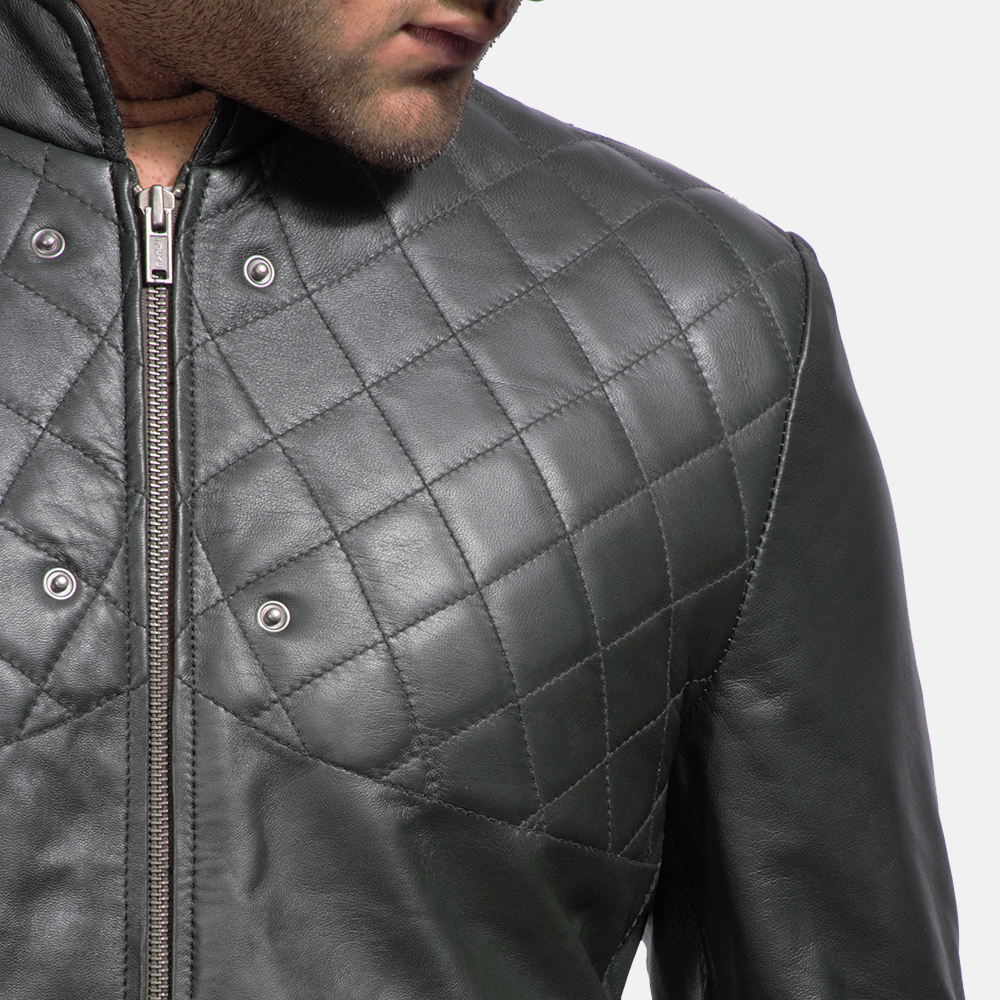 Mens Green Hooded Leather Costume 8