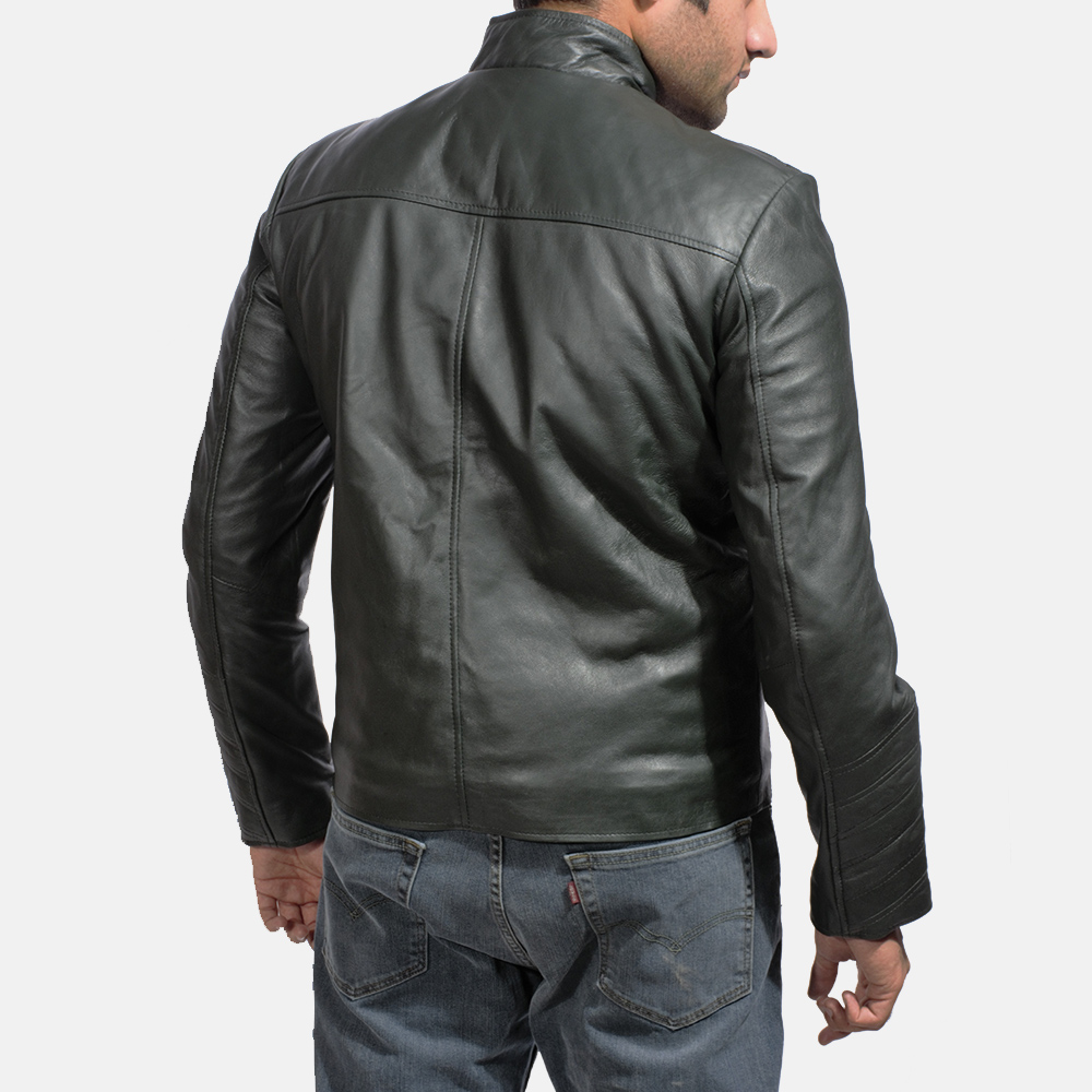 Mens Green Hooded Leather Jacket 7