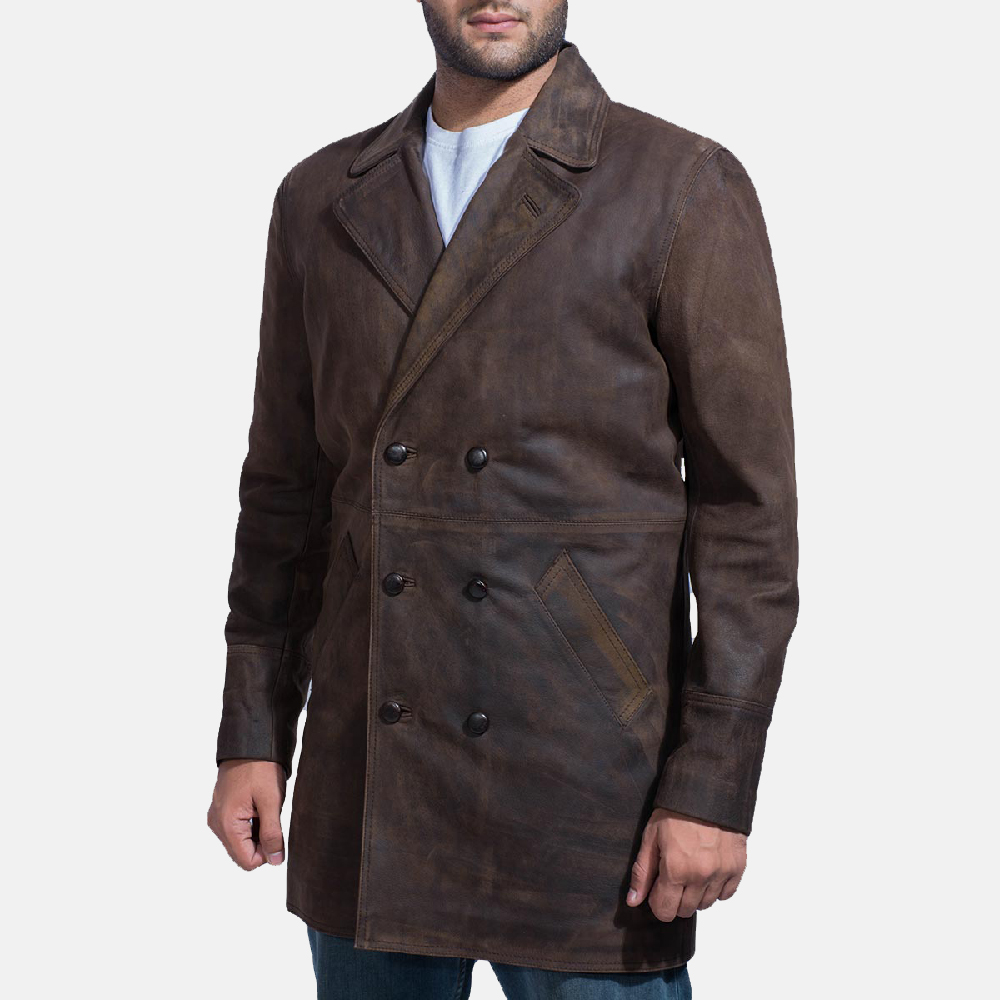 Mens Half Life Brown Leather Coat 3