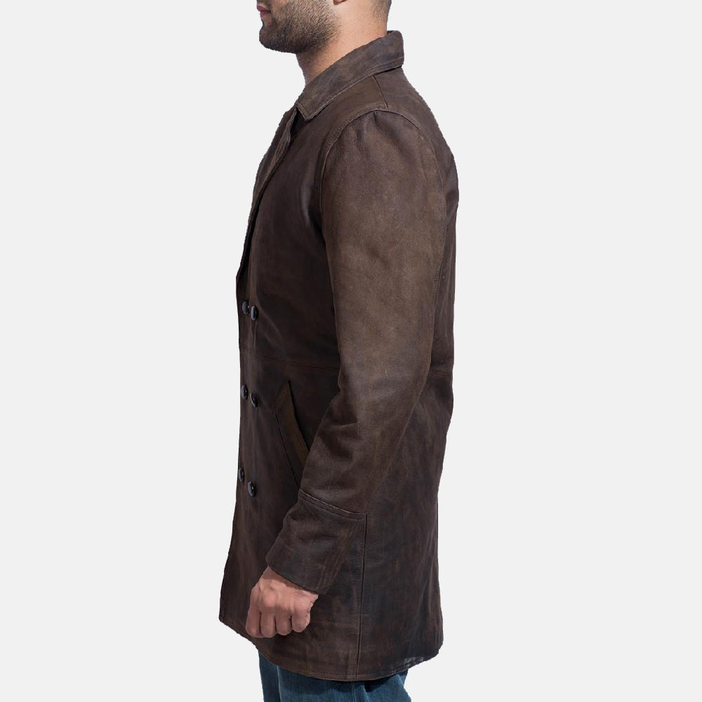 Mens Half Life Brown Leather Coat 4