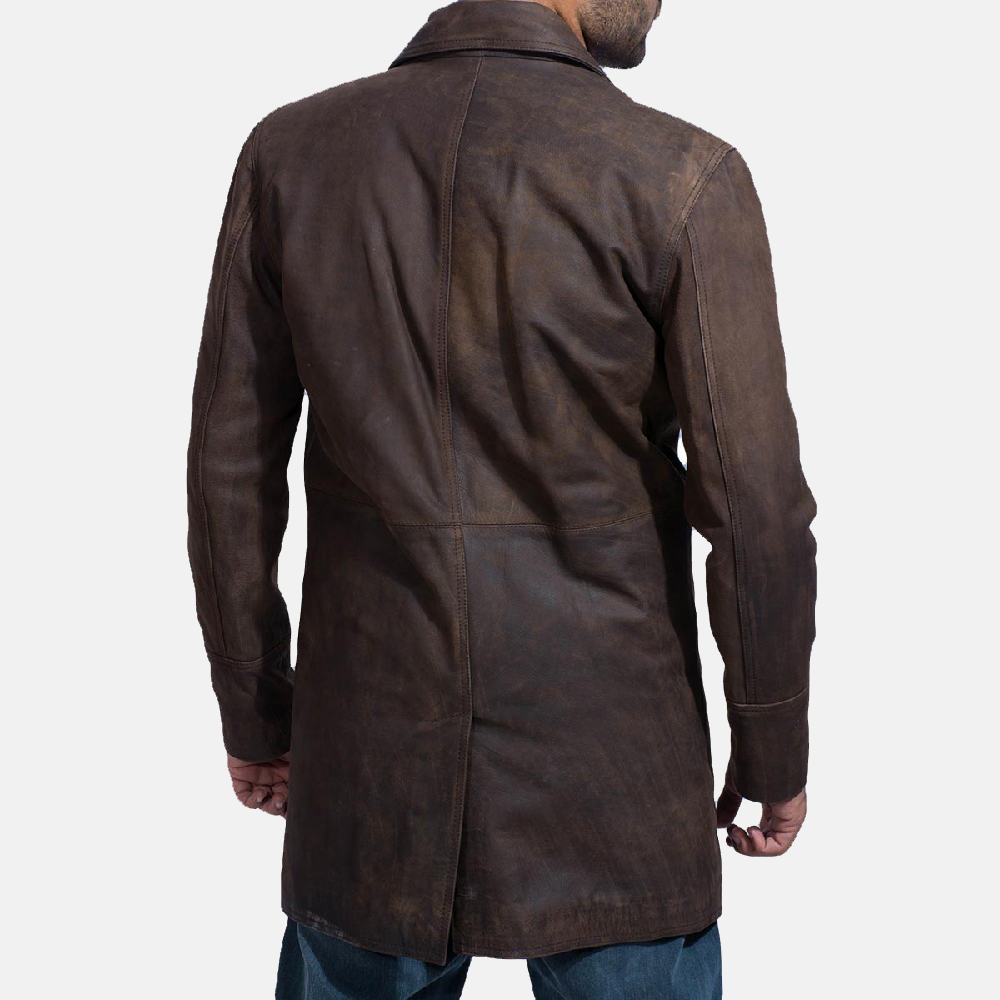 Mens Half Life Brown Leather Coat 5