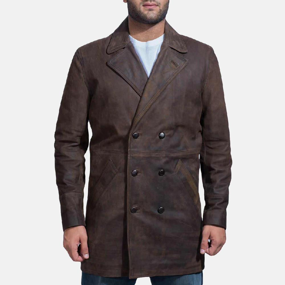 Mens Half Life Brown Leather Coat 1