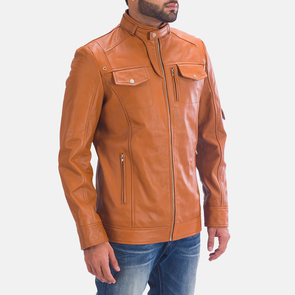 Mens Hans Tan Brown Leather Jacket 2