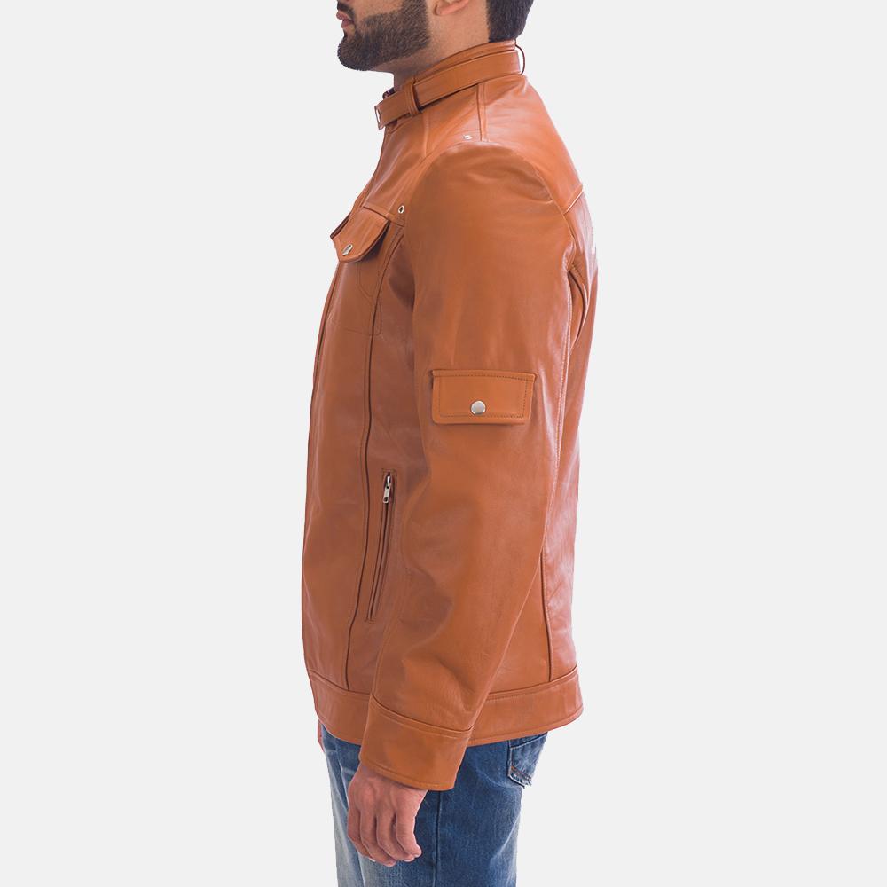 Mens Hans Tan Brown Leather Jacket 4