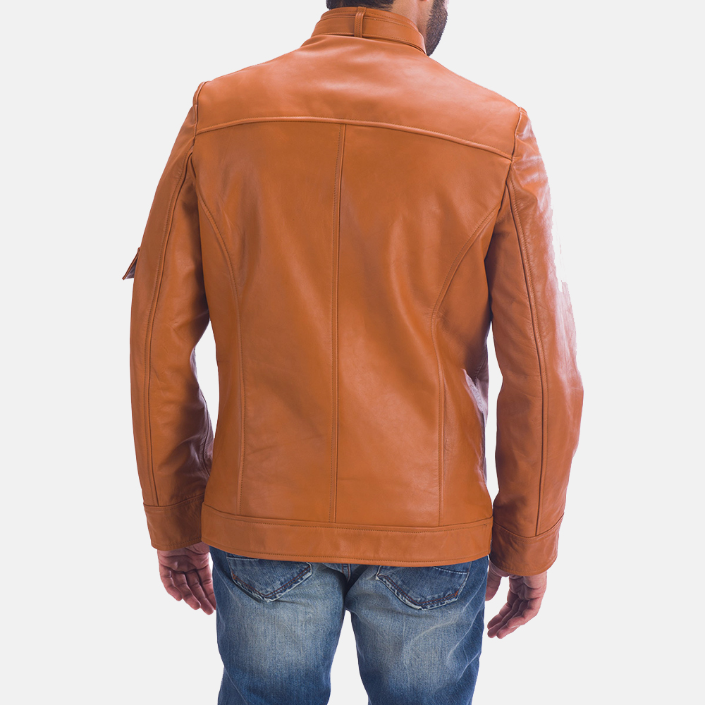 Mens Hans Tan Brown Leather Jacket 5