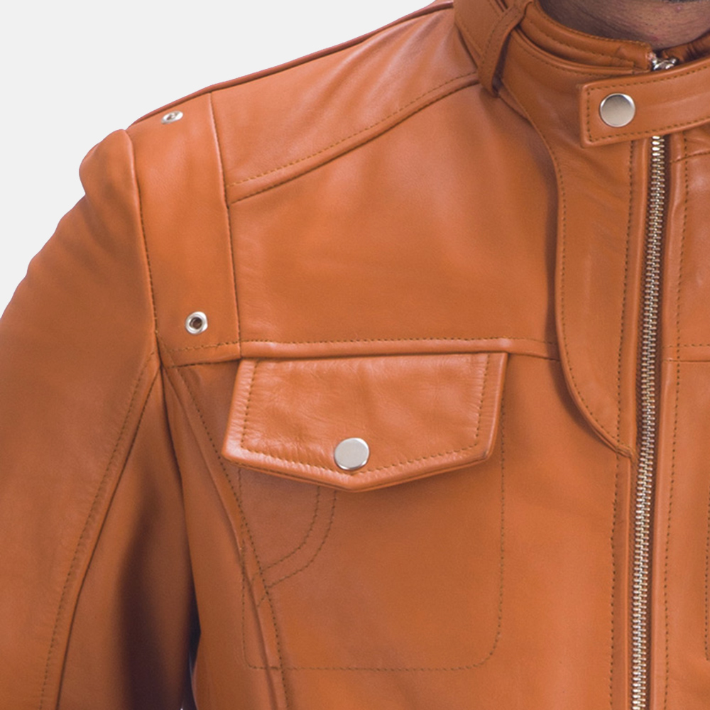 Mens Hans Tan Brown Leather Jacket 3