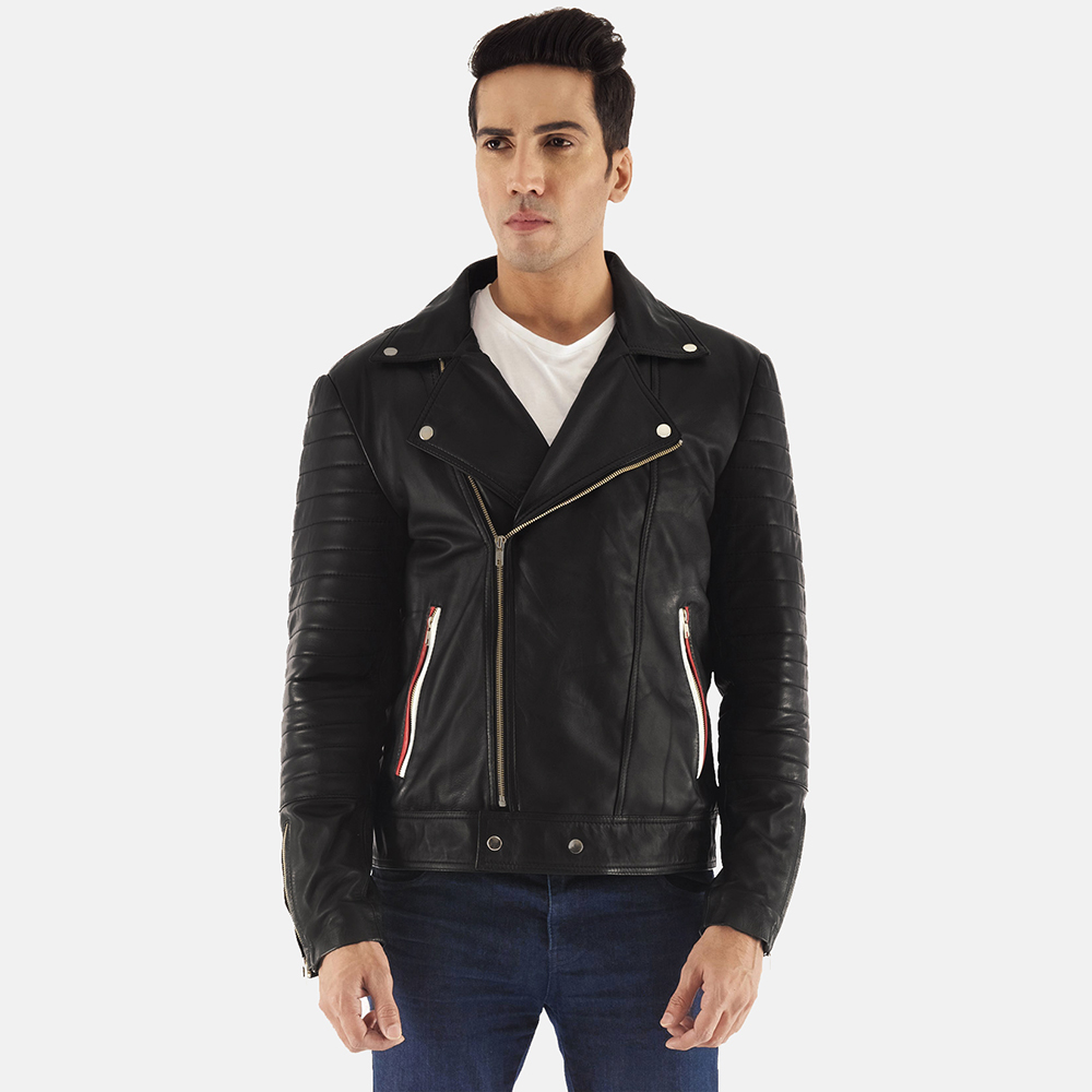 Mens Highfield Black Leather Biker Jacket 1
