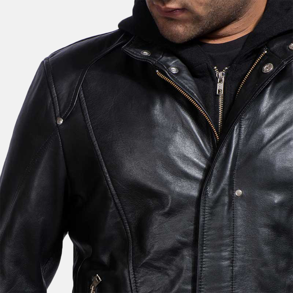 Mens Highschool Black Leather Jacket 3