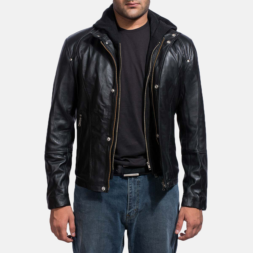 ab9aef14a0 Mens Highschool Black Leather Jacket 1