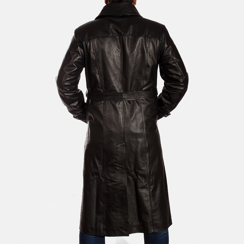 Mens Hooligan Black Leather Trench Coat 5