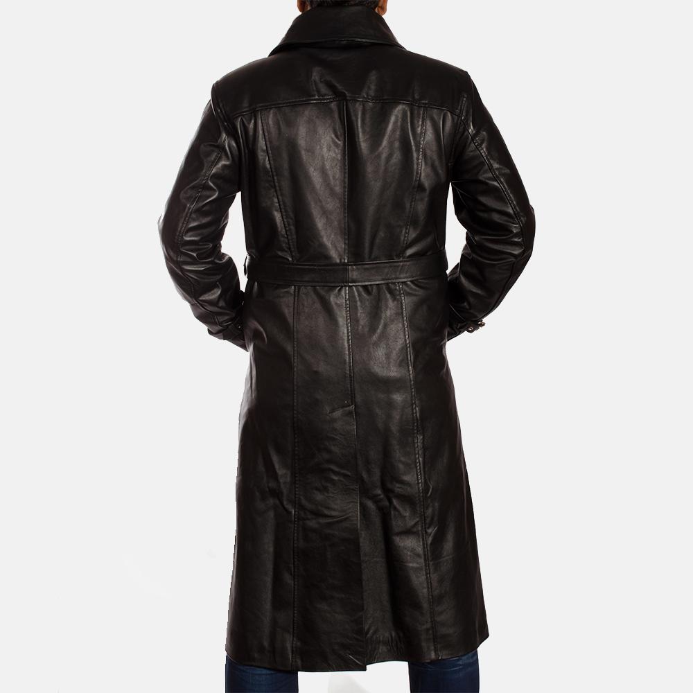 Mens Hooligan Black Leather Trench Coat 5
