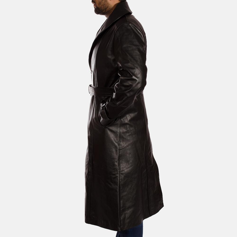 Mens Hooligan Black Leather Trench Coat 4