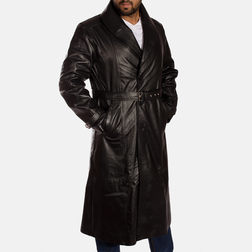 men's black trench coat