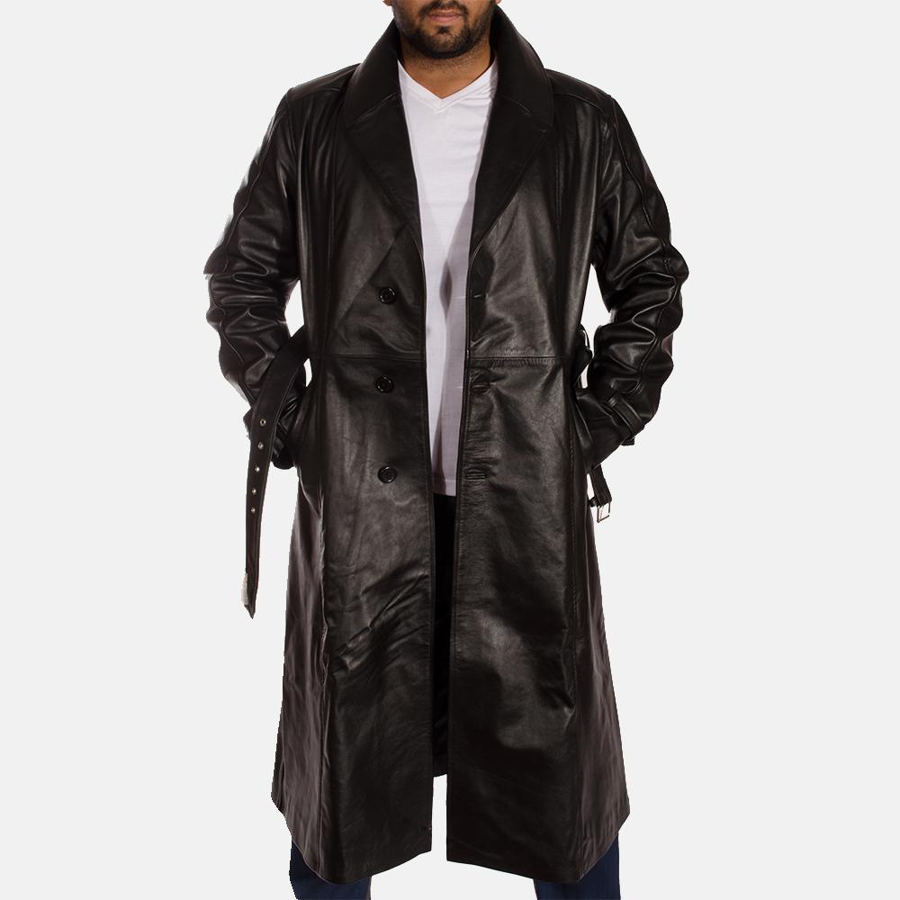 Mens Hooligan Black Leather Trench Coat 2