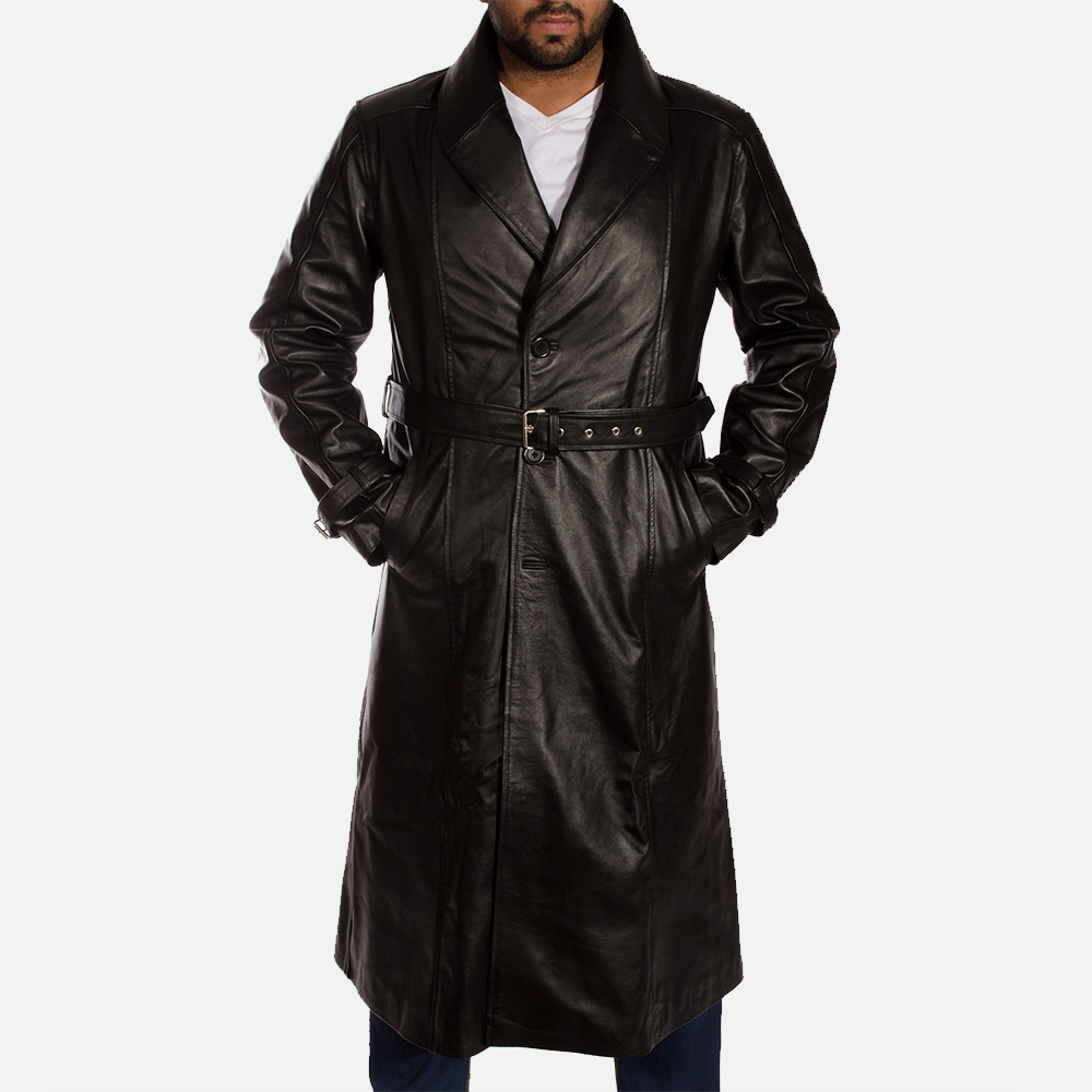 on sale online the sale of shoes latest trends Hooligan Black Leather Trench Coat