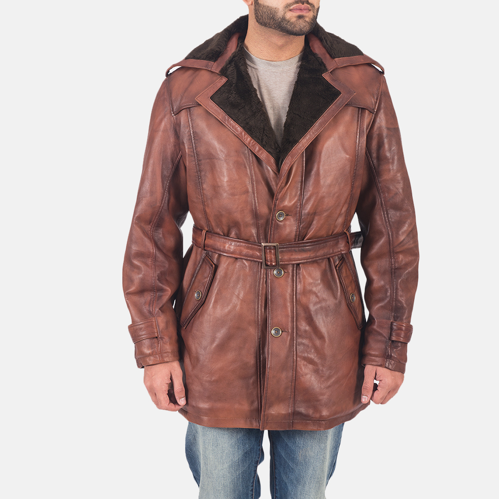 Mens Hunter Brown Fur Leather Coat 2