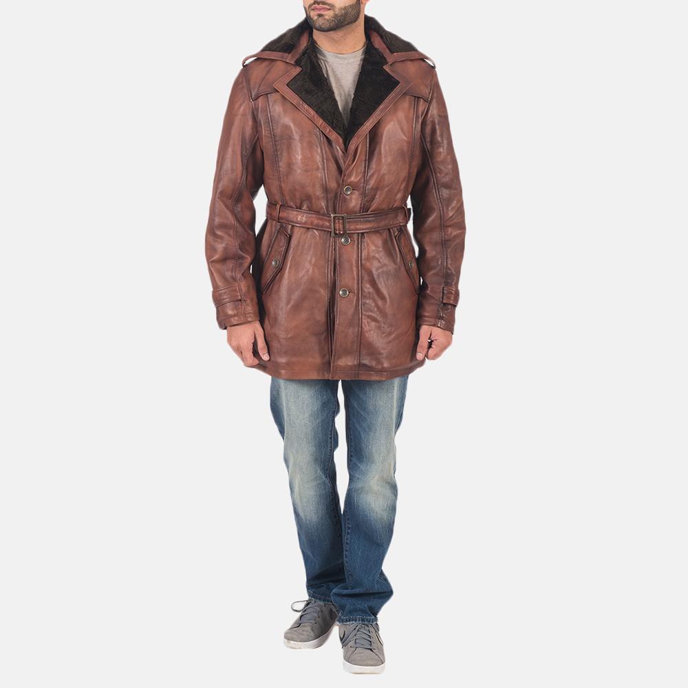 Mens Hunter Brown Fur Leather Coat 3