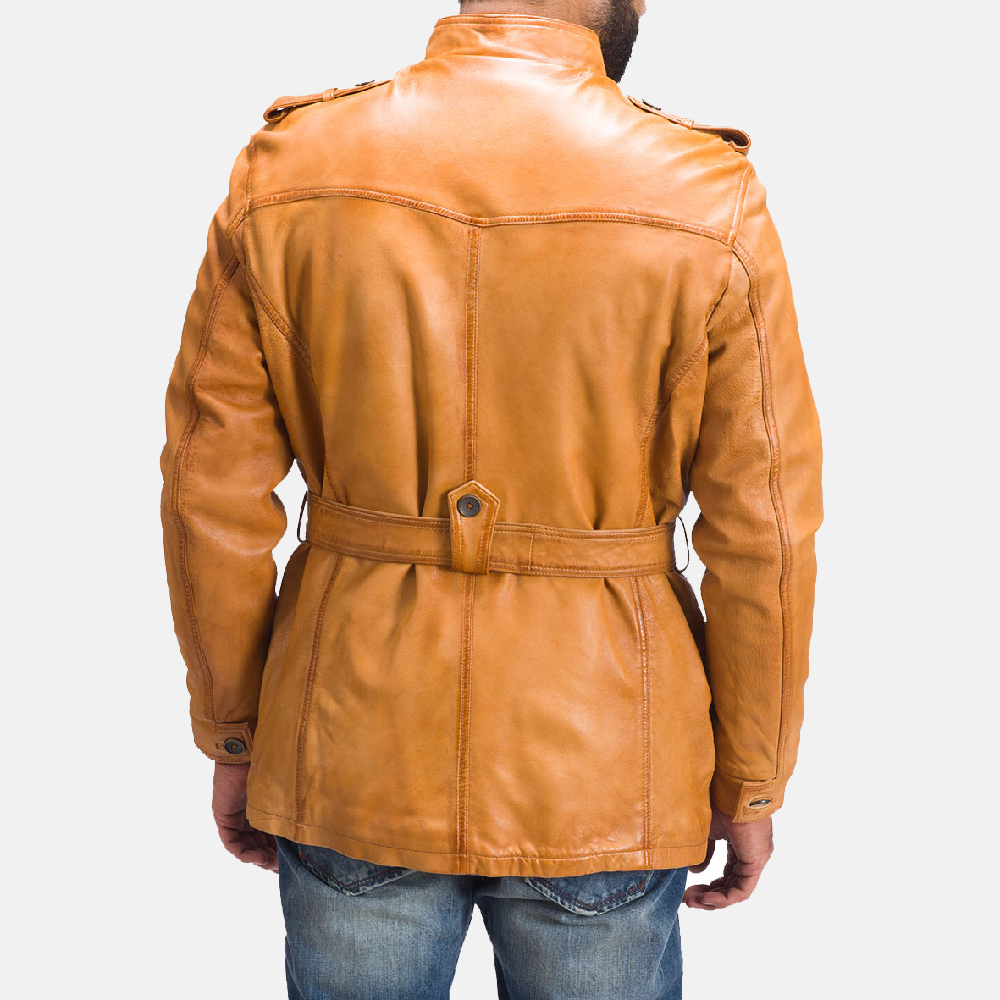 Mens Hunter Tan Brown Fur Leather Jacket 5