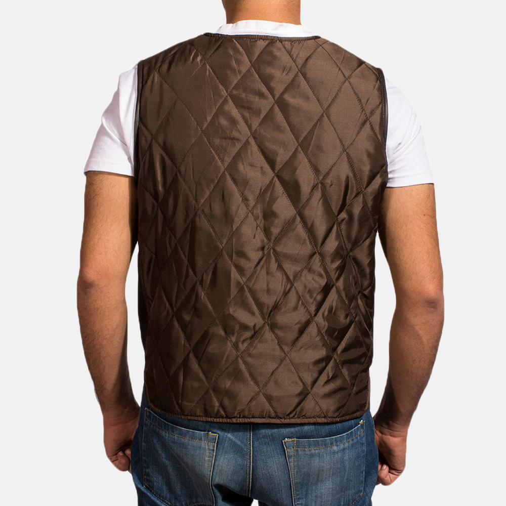 Mens Hybridge Quilted Brown Vest 3