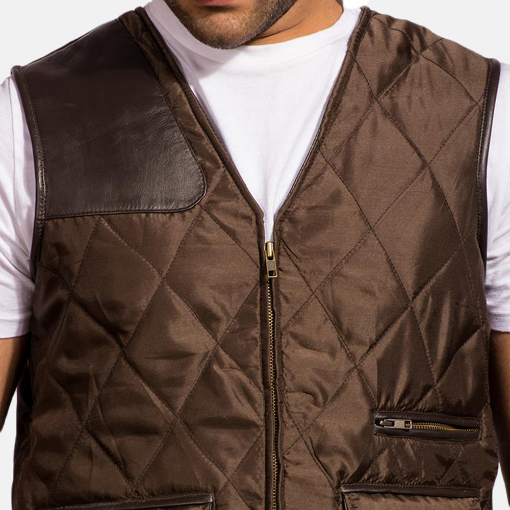 Mens Hybridge Quilted Brown Vest 4
