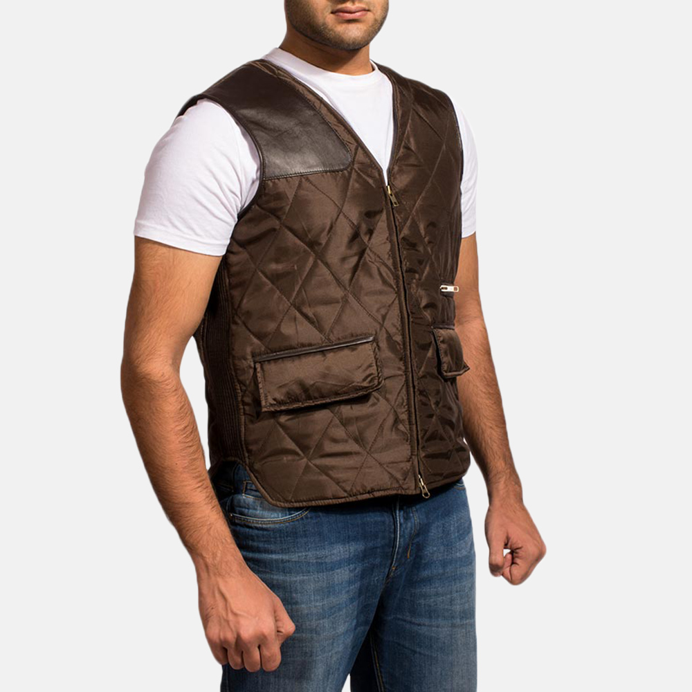 Mens Hybridge Quilted Brown Vest 2