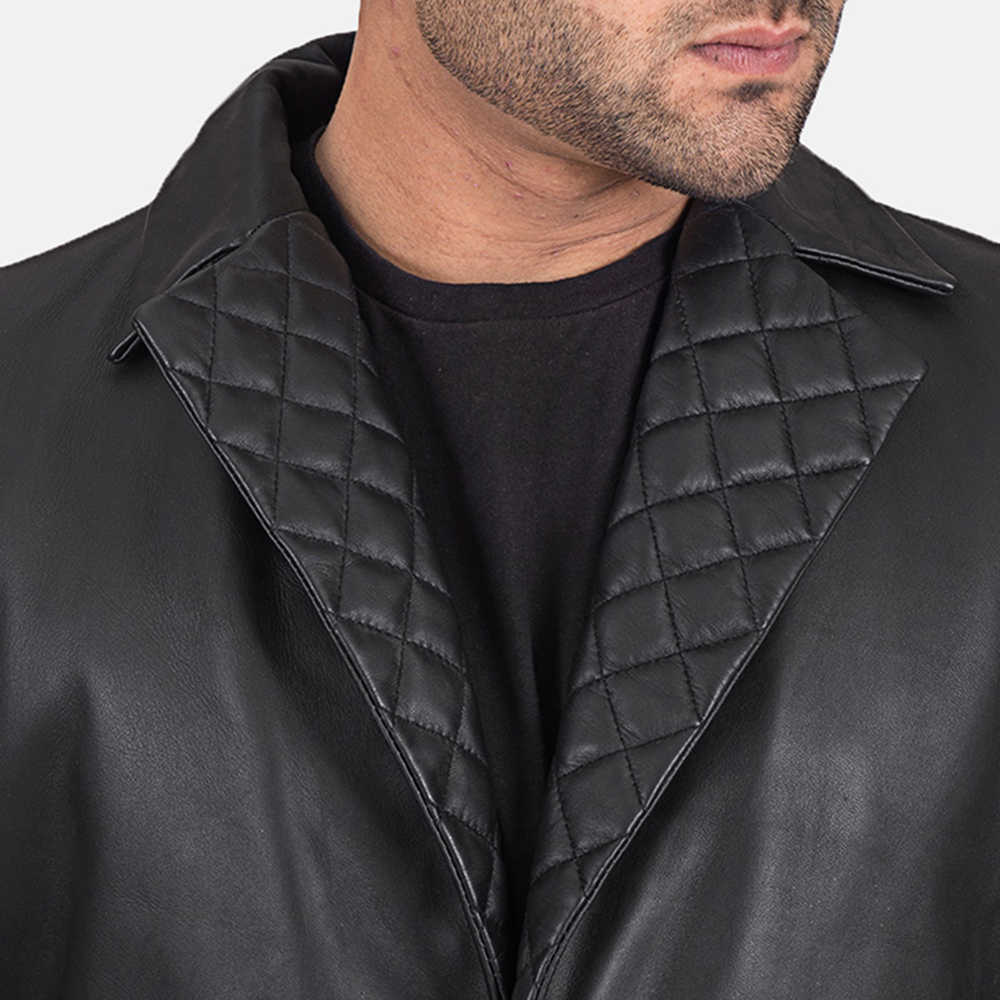 Mens Infinity Black Leather Coat 3
