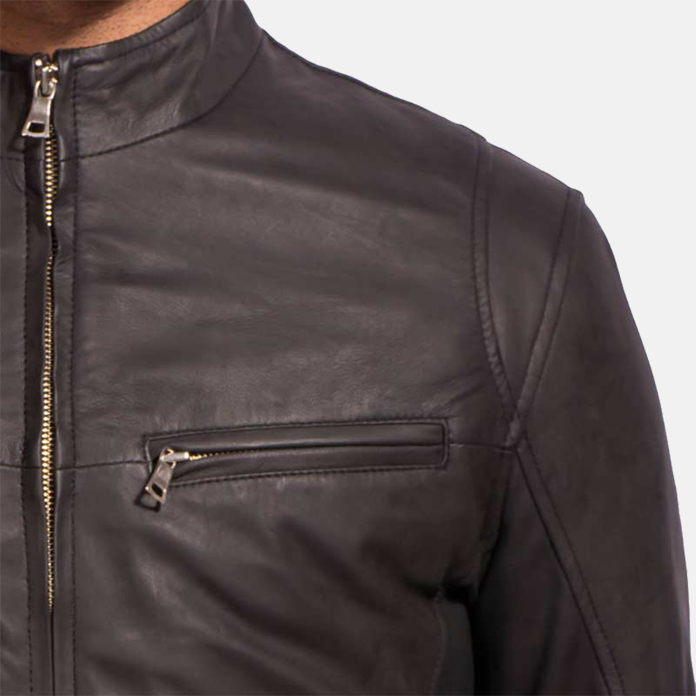 Mens Ionic Black Leather Jacket 3
