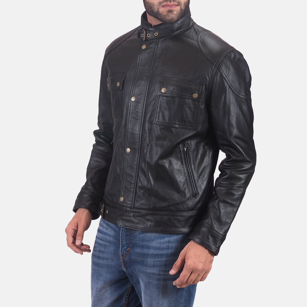Mens Krypton Black Leather Jacket 2