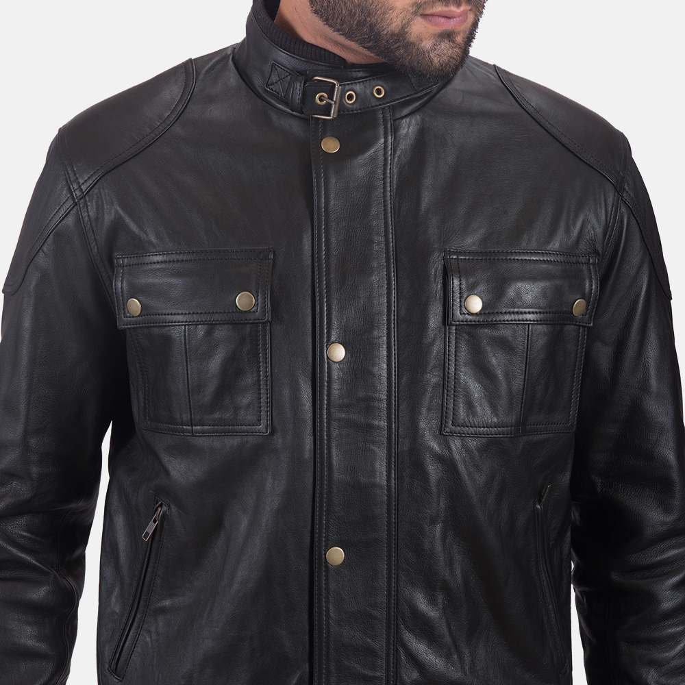 Mens Krypton Black Leather Jacket 4