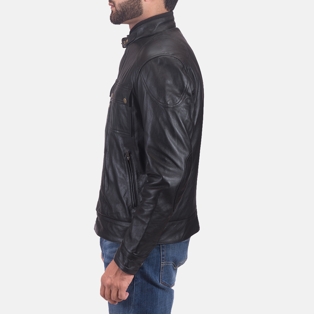 Mens Krypton Black Leather Jacket 5