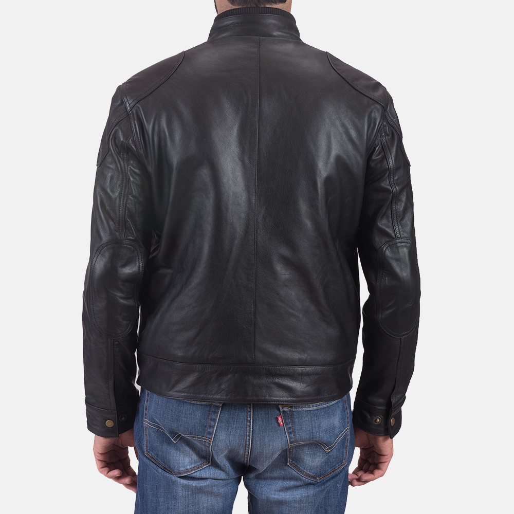 Mens Krypton Black Leather Jacket 6